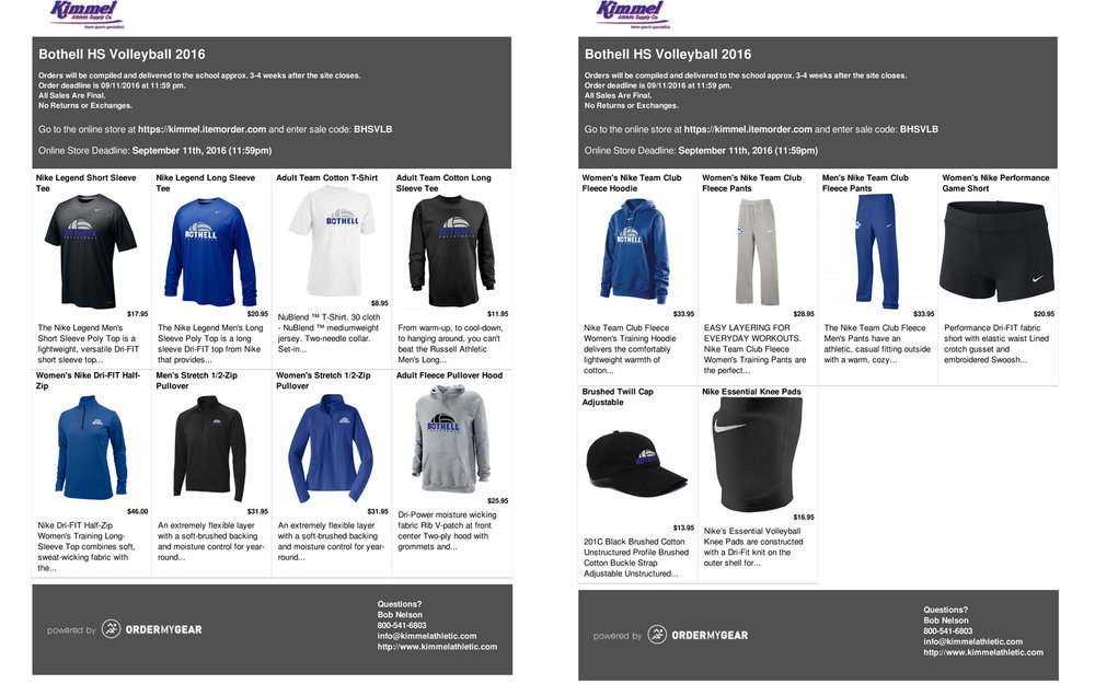 This was the site that people could visit to order all the Cougar volleyball gear.