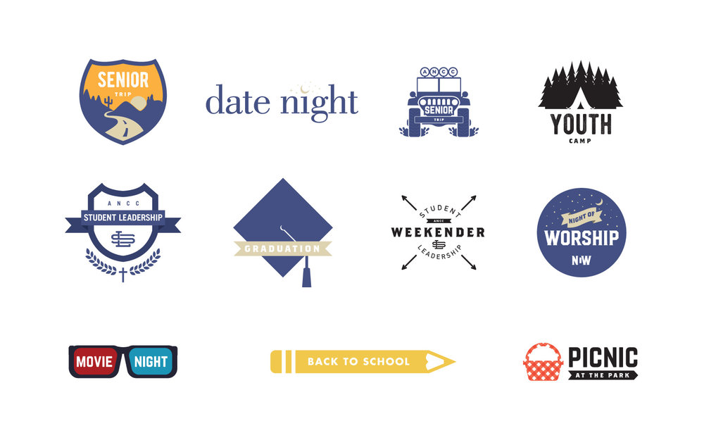 Prospective logos for different events and ministries at my friend's church. I love serving youth and helping connect them to Jesus!
