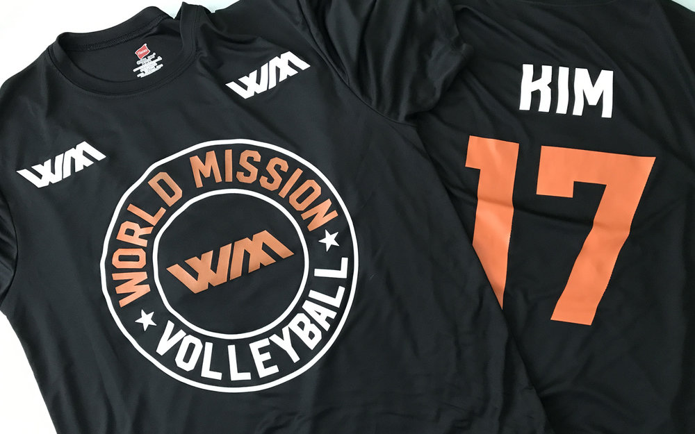 World Mission Volleyball shirts. The front was screen printed and the names and numbers were printed using fashion film. I love how sweet the White and Orange stand out on the black Dri Fit shirt. And it's a nod to the SF Giants!