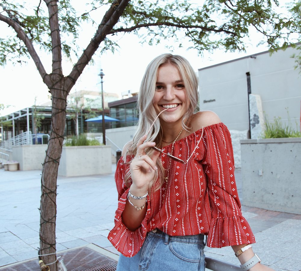 Denim Skirts and Off-the-Sholder Tops