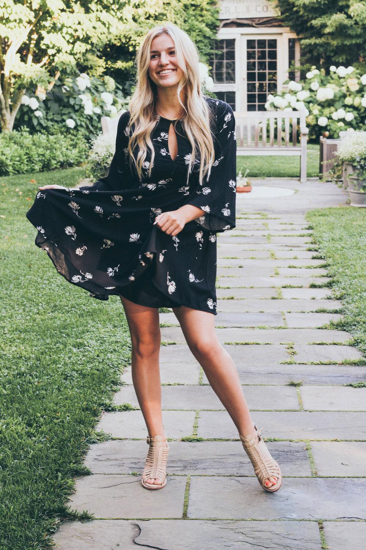 Others Follow Black Floral Print Dress