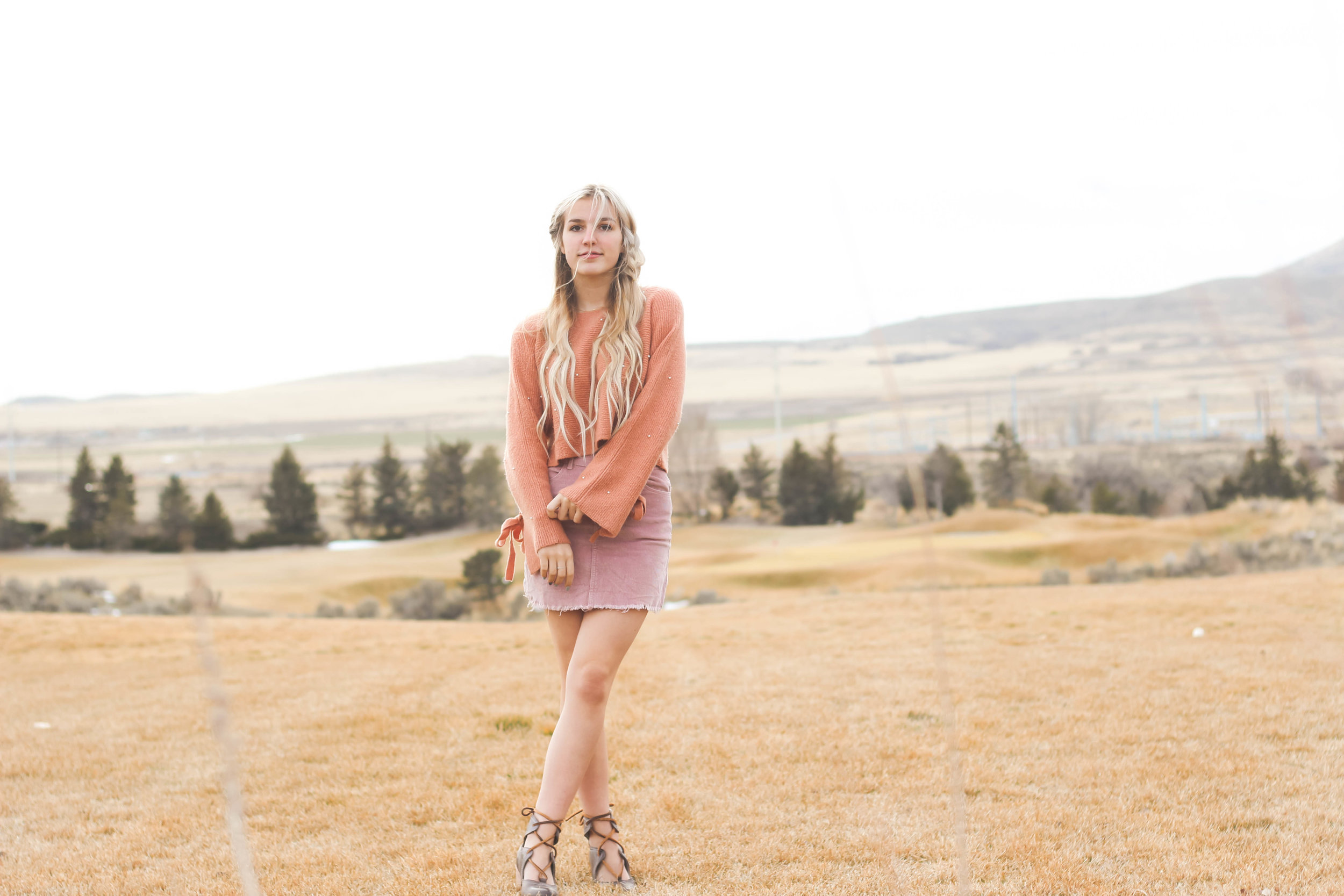 Brandy Melville Pink Corduroy Skirt and Pink Cropped Sweater with Steve Madden Heels: Valentine's Day Outfit Inspiration