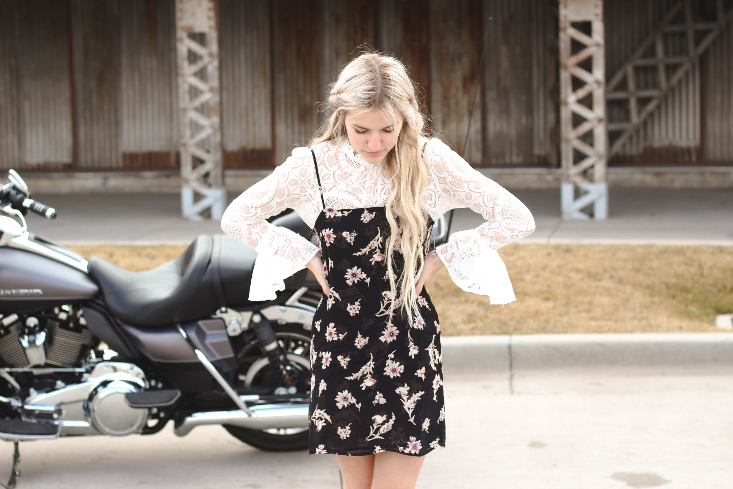 Lace Top and Black Flynn Skye Slip Dress: Valentine's Day Outfit Inspiration