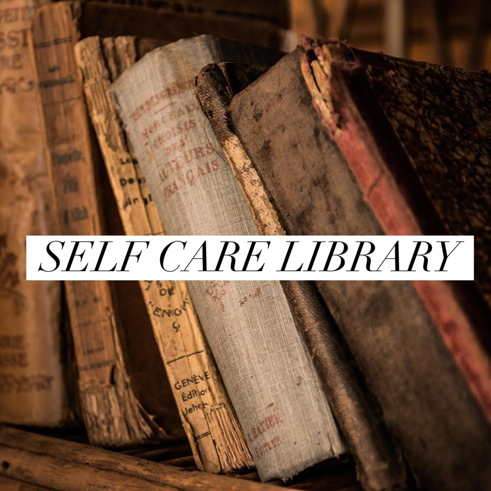 Button: Self Care Library (Image is antique books)