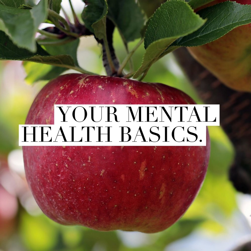 "Button: ""Your Mental Health Basics"" Image is an apple hanging from a tree"