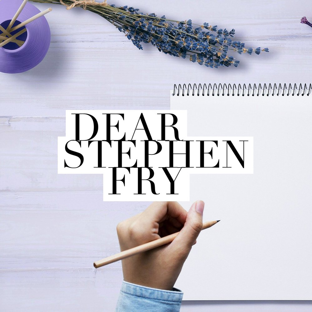 Button: Dear Stephen Fry. Image - poised hand with pen, ready to write on notebook.