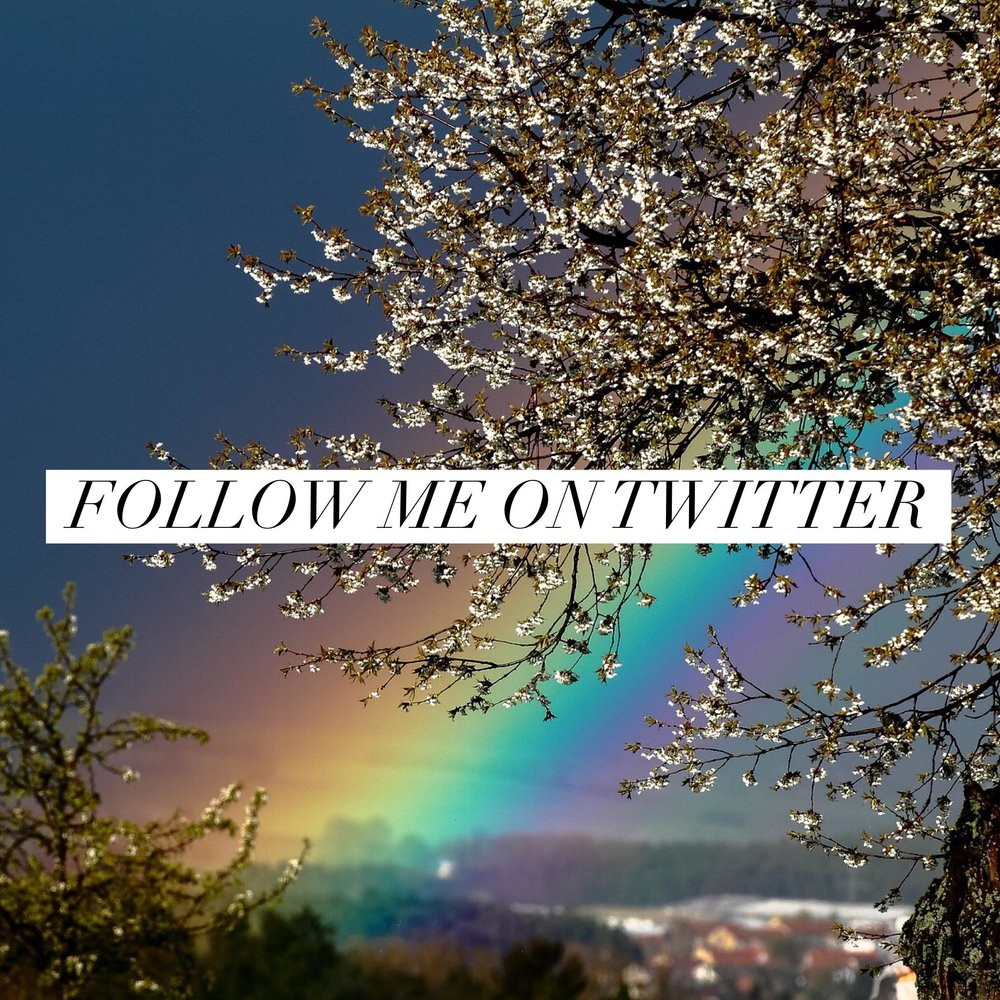 Button: Follow me on Twitter Image: Blossoming tree with rainbow