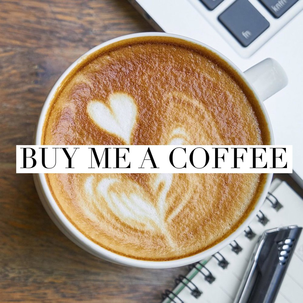 Button: Buy me a coffee Image: A latte with latte art in heart design