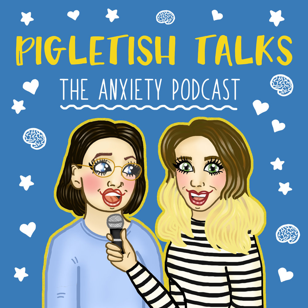 Pigletish Talks the Anxiety Podcast Artwork - Cartoon version of Anneli holding mic and interviewing Sarah - background is blue with white doodles of hearts and brains. Artwork created by Aloha Lola Cards
