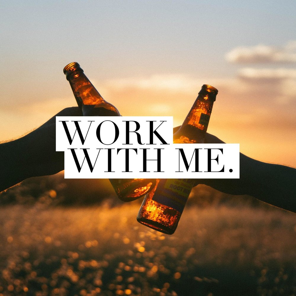Button: Work with me Image: Two people cheersing beers in front of sunset (hands only)