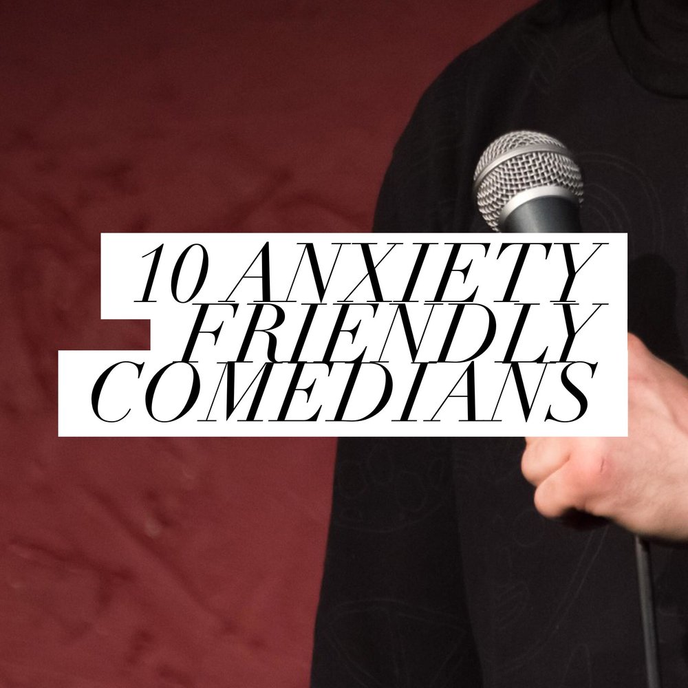 Button: 10 Anxiety Friendly Comedians Image: HAnd holding a mic