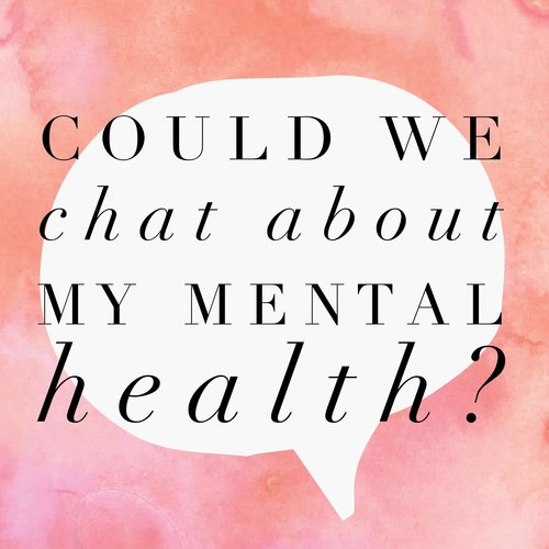 Button: Could we chat about mental health?  Image: Speech bubble