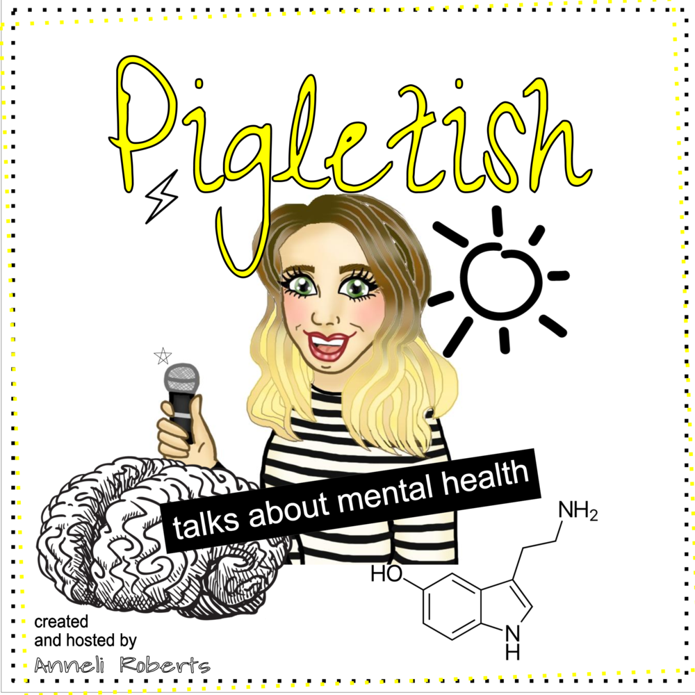 the new pigletish podcast artwork (thank you to Claire at Aloha Lola for the caricature)
