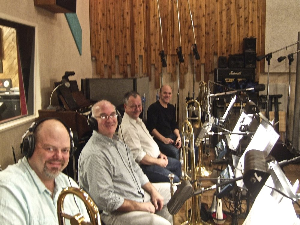 The trombone section waiting for something to do.