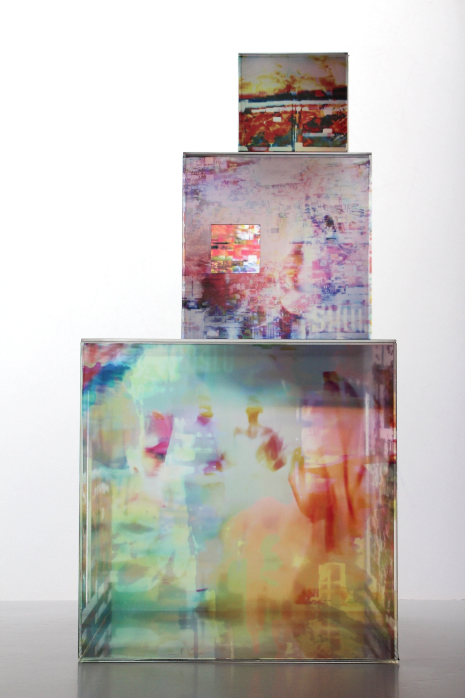 Cubes, 2016,Perspex, digital print, dimensions: 12cmx12cmx12cm, 19cmx19cmx19cm, 30cmx30cmx30cm