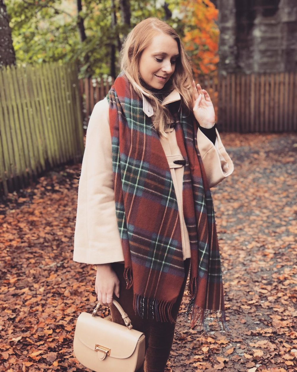 Tartan Scarf , Camel Coat - similar  here  and  here