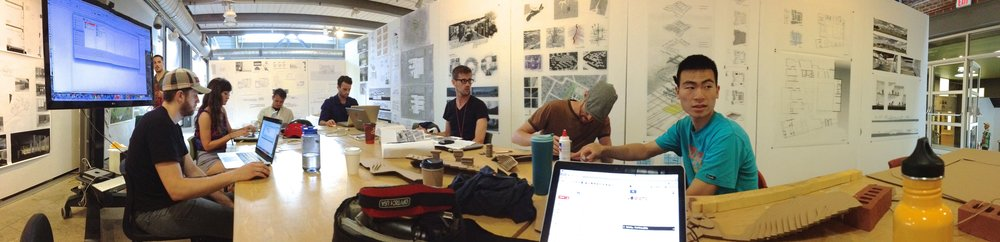 This is what a set up looks like for a two week intensive design and build session!
