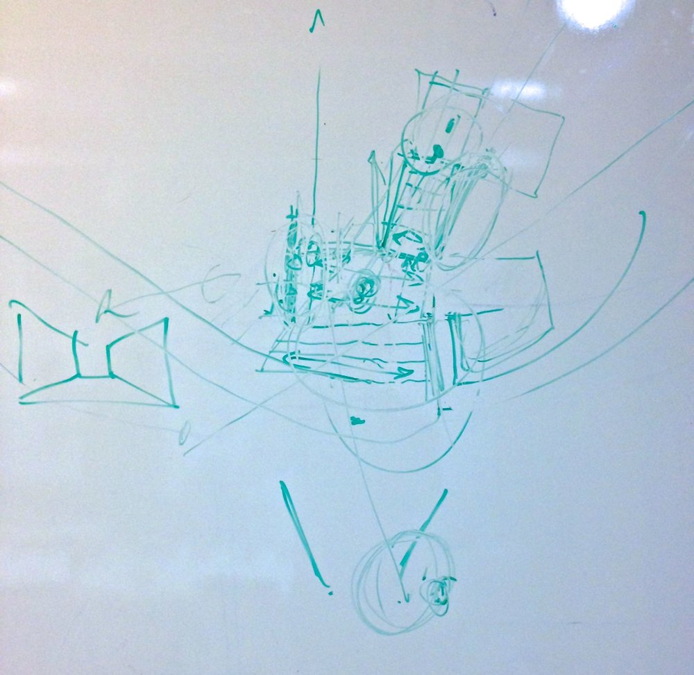 This is a whiteboard drawing with 11 peoples ideas imposed on it... It's virtually illegible by the end of the day.