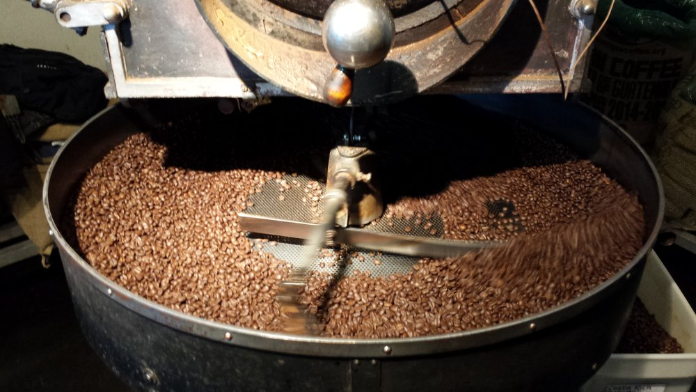 Beans roasting at my local coffee shop in St. Paul, MN. - Dunn Brothers on Grand Avenue.