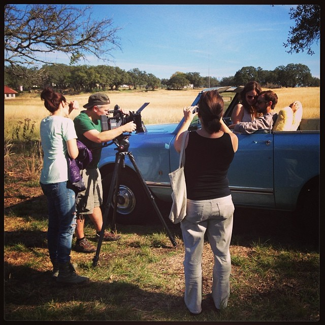 On set in central Texas with from left writer/director, Jentri Quinn, cinematographer Greg Risley, and actors Olivia Applegate and Chase Joliet.
