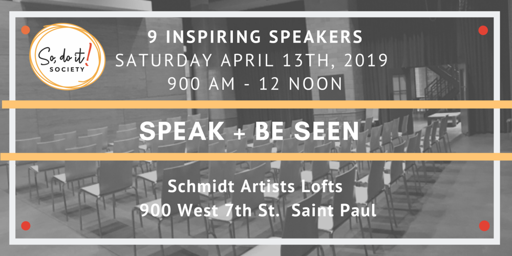 Join us for this free event at the Schmidt Artists Lofts - Brew House. Nine speakers will have 5-7 minutes, each, to share their messages and be recorded on professional video + audio for their websites, portfolios, and/or social media streams.