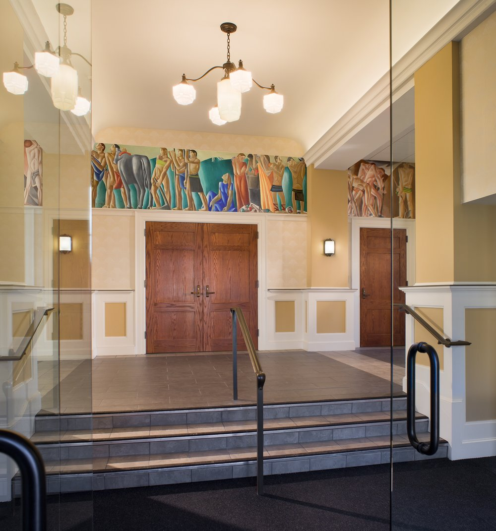 Entry Lobby with WPA Mural Restored