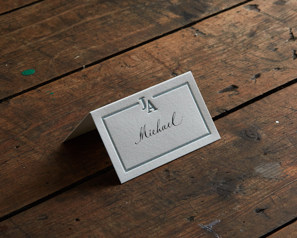 Letterpress Place Card Detail