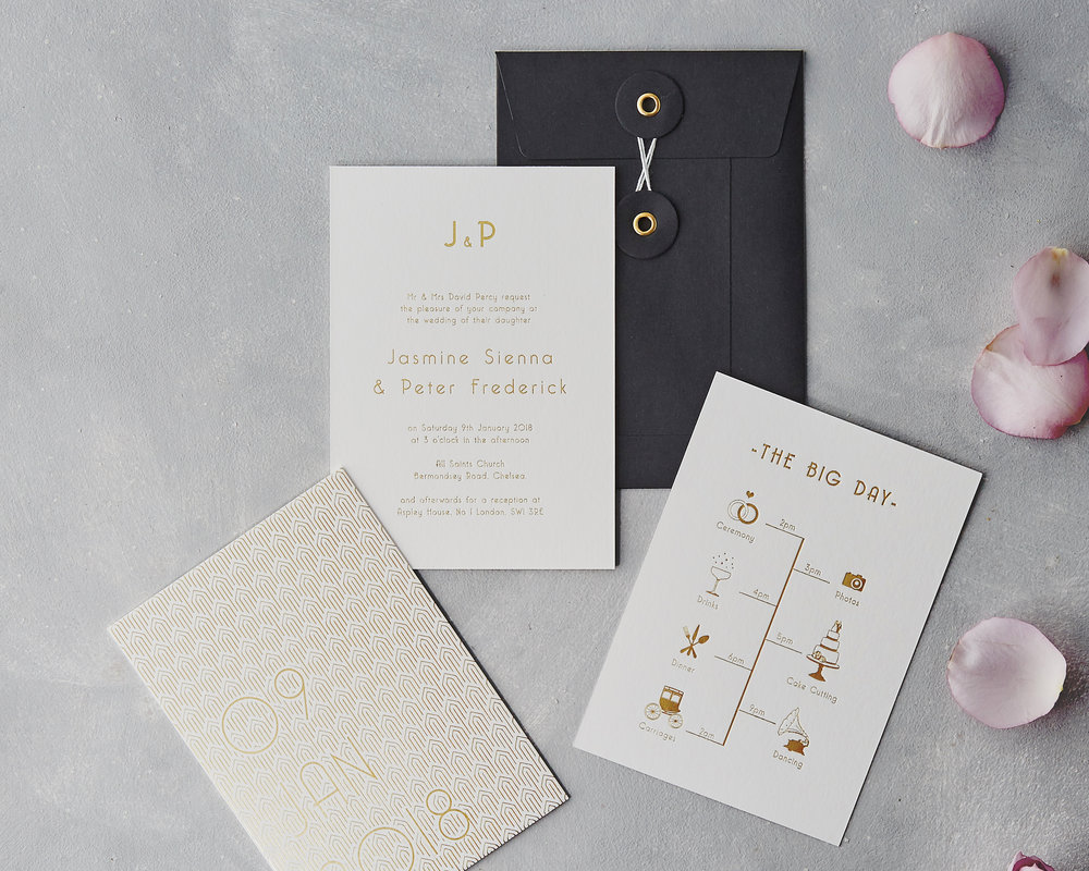 Gold Deco Invitation Set