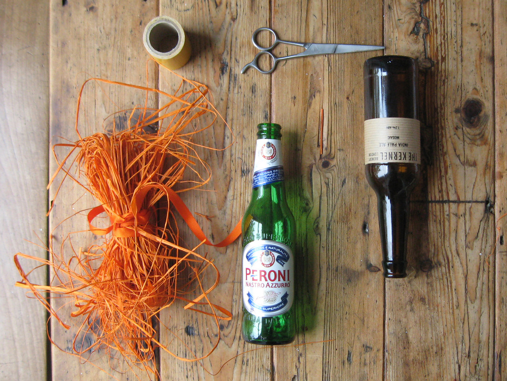 Raffia-wrapped bottle, What you need, Wedding Decoration DIY.
