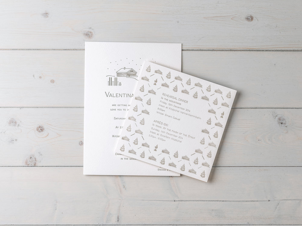 Bespoke wedding invitations inspired by an Alpine chalet wedding