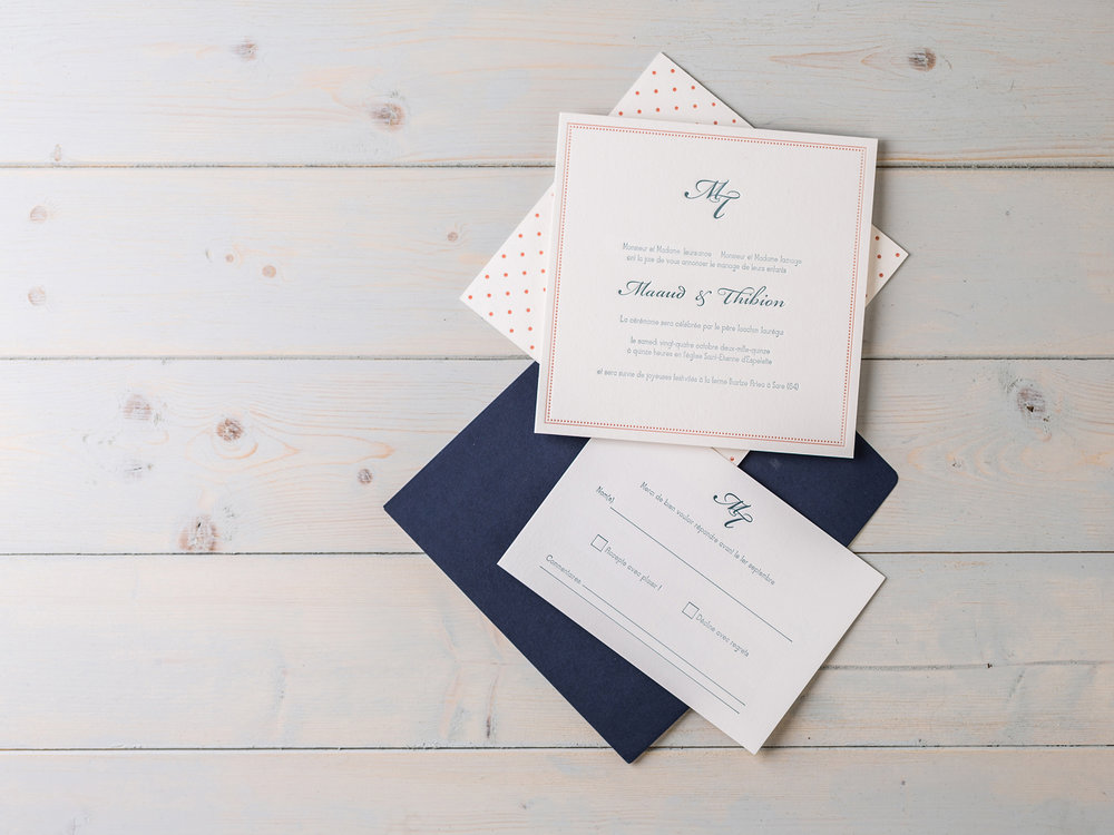 Modern Spotted twist on a monogram wax sealed classic