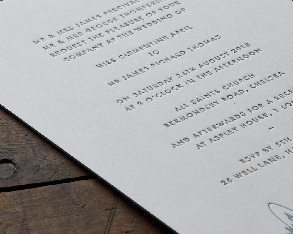 Letterpress Invitation Detail