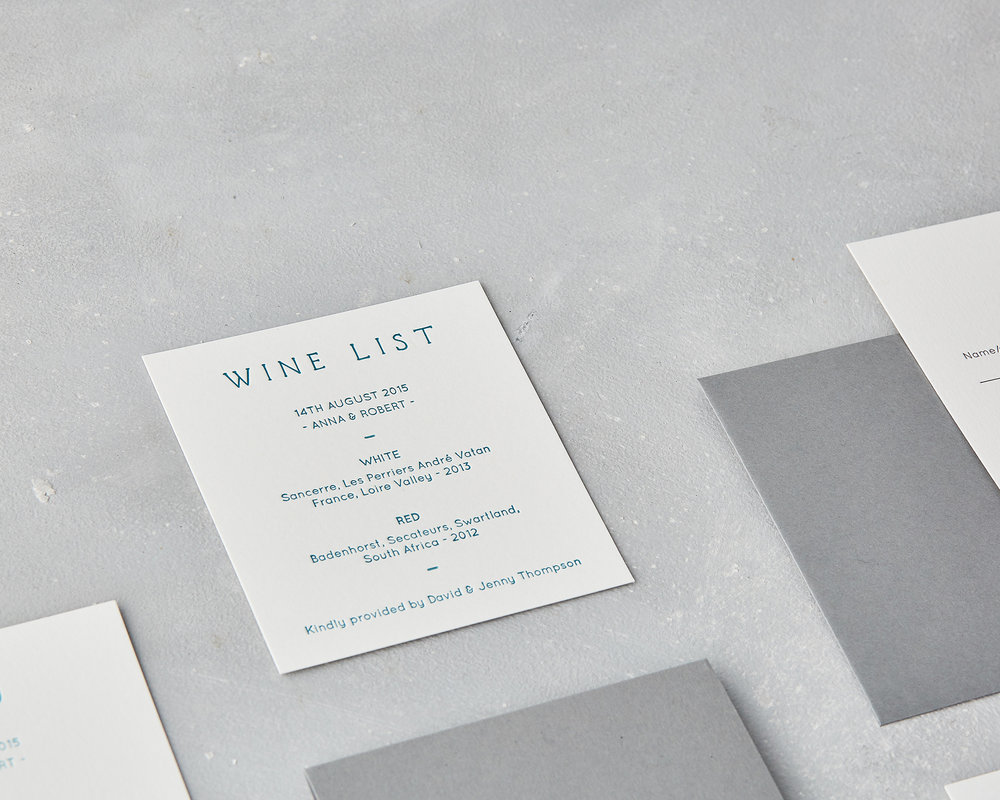 Letterpress Wine List