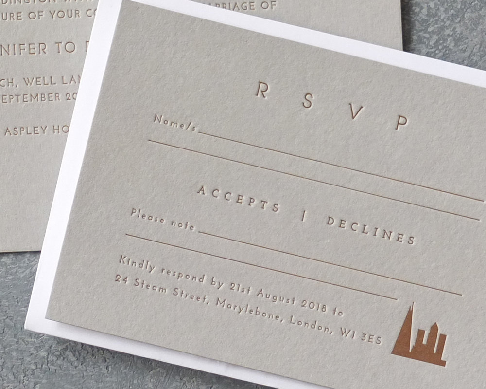 RSVP Card Letterpress Detail