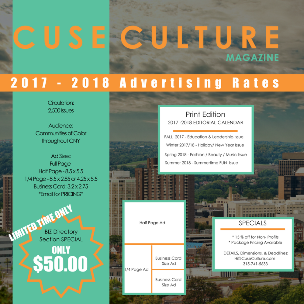 Cuse Culture is going to PRINT and we would love to partner with your business or oganization to assist YOU in gaining new customers, clients! Interested? Email Hi@CuseCulture.com