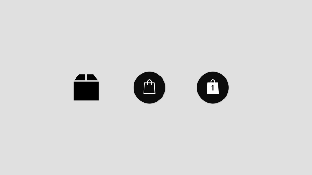 Icons. Left to right- Old Box Icon. New Bag Icon. Bag Full Icon.