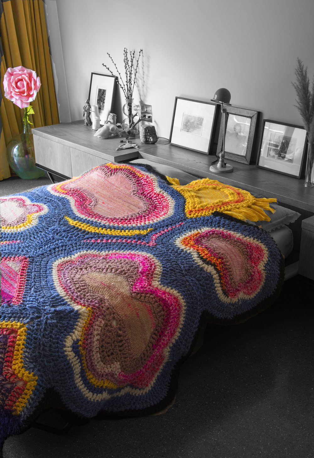 Sunrise 270 x 220 cm  Crochet and knit  2016