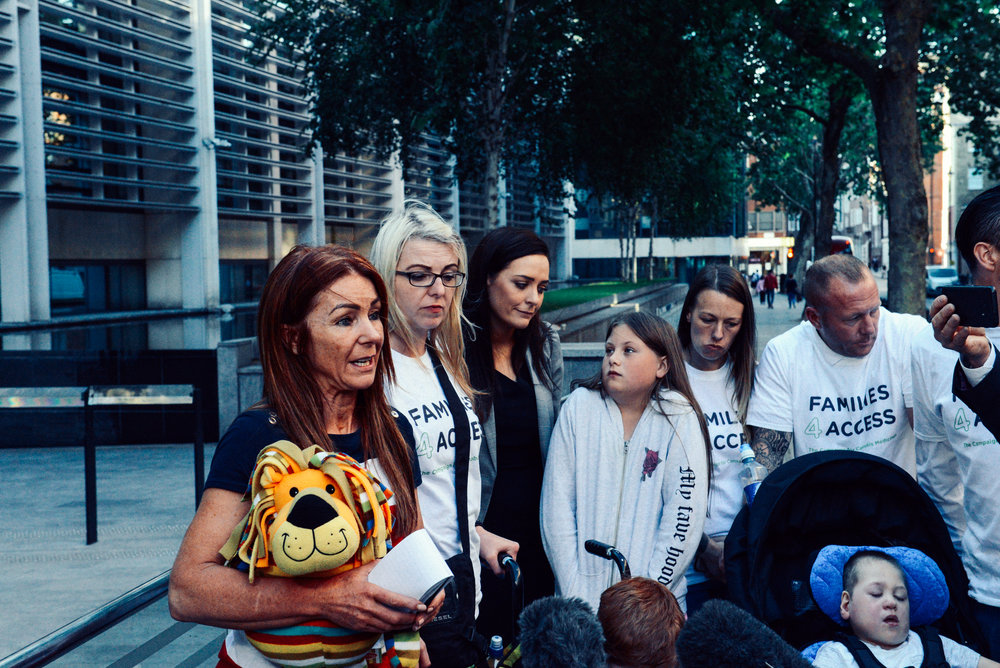 Charlotte Caldwell and the Families4Access campaign group outside the UK Home Office (Summer 2018)