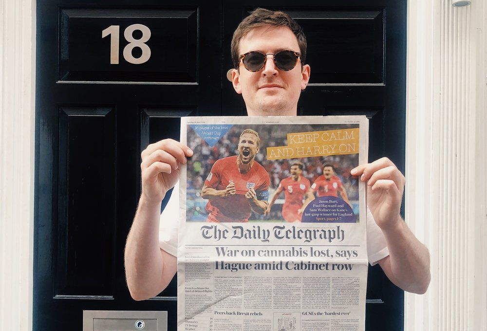 Your author, George McBride, on Hanway Street holding the front page of June 19th's paper, which featured Lord Hague advocating for UK cannabis legalisation.