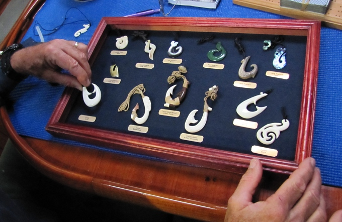 shadowbox display of fishing hooks