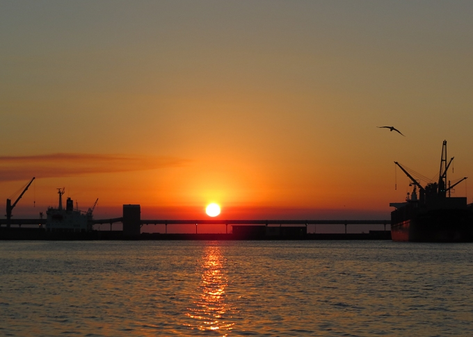 portland sunrise over the breakwater