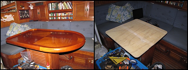 salon table now a workbench