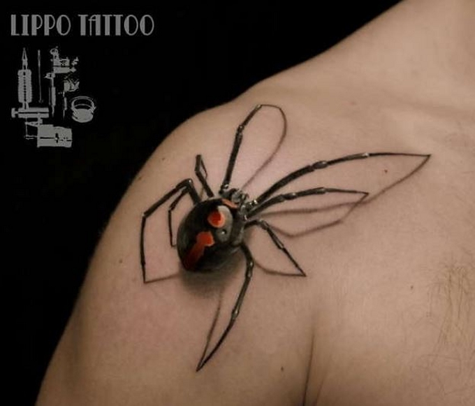 realistic spider tattoo