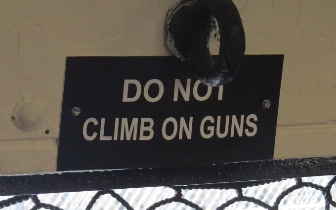 do not climb on guns