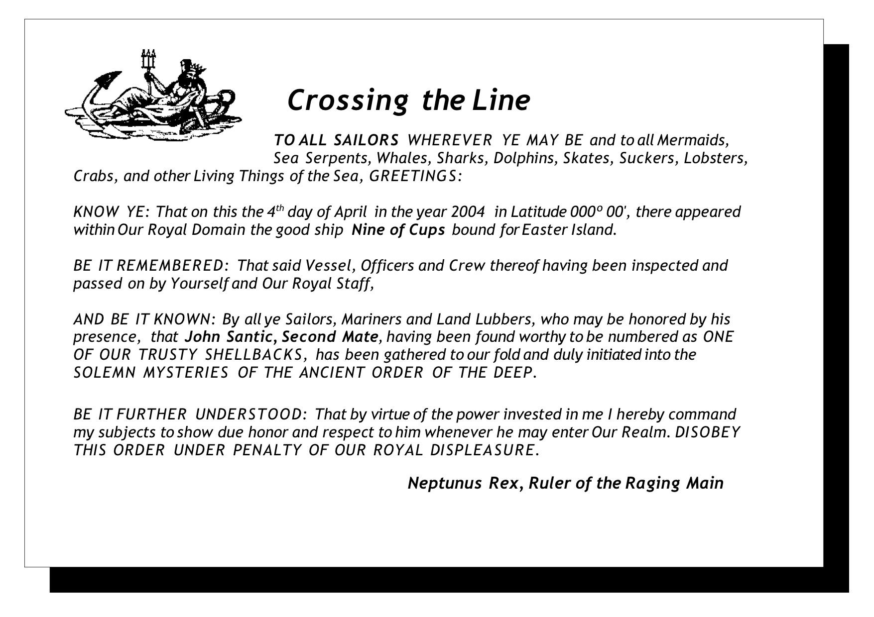 crossing the line certificate