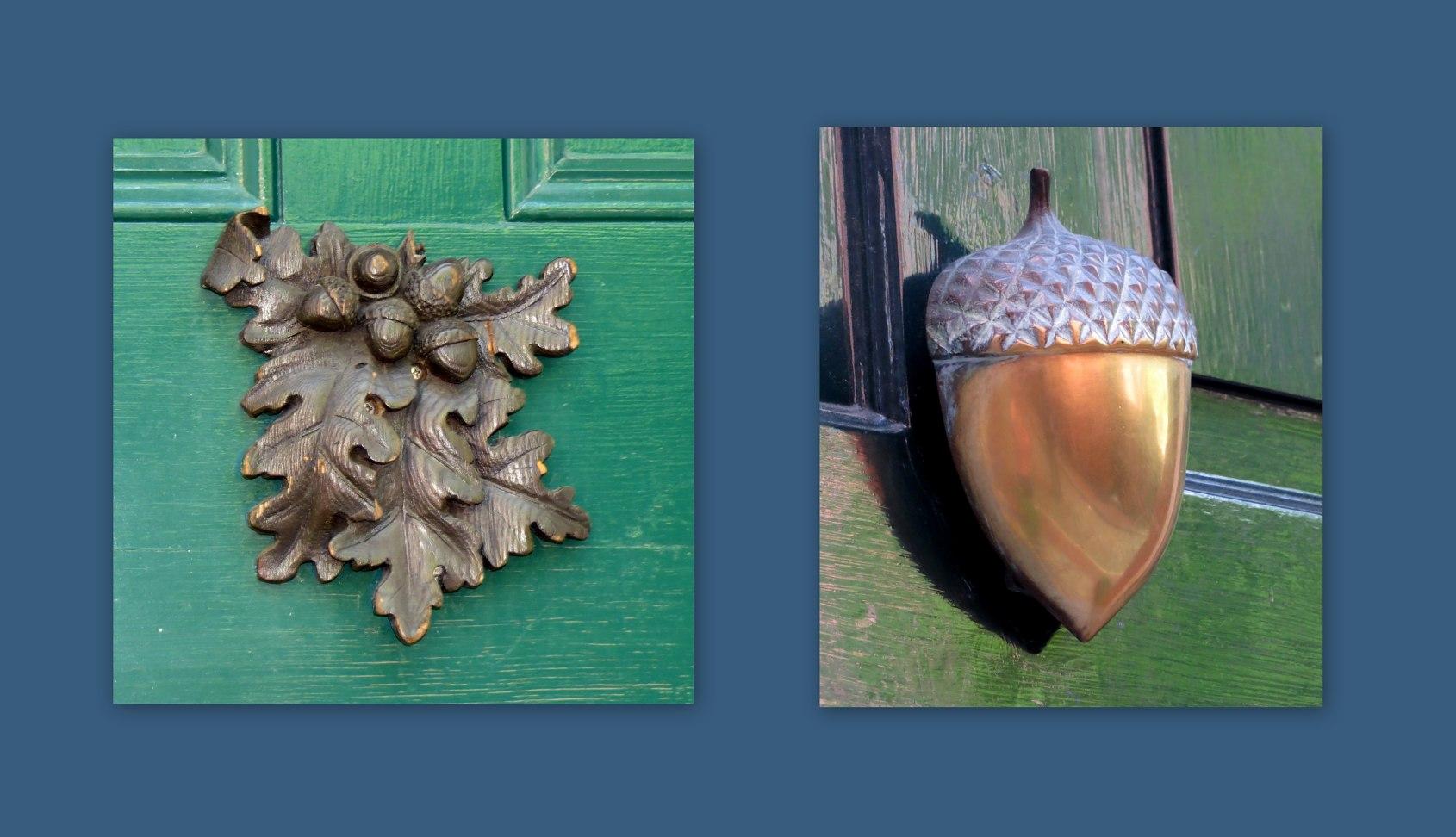 leaves and acorn doorknockers