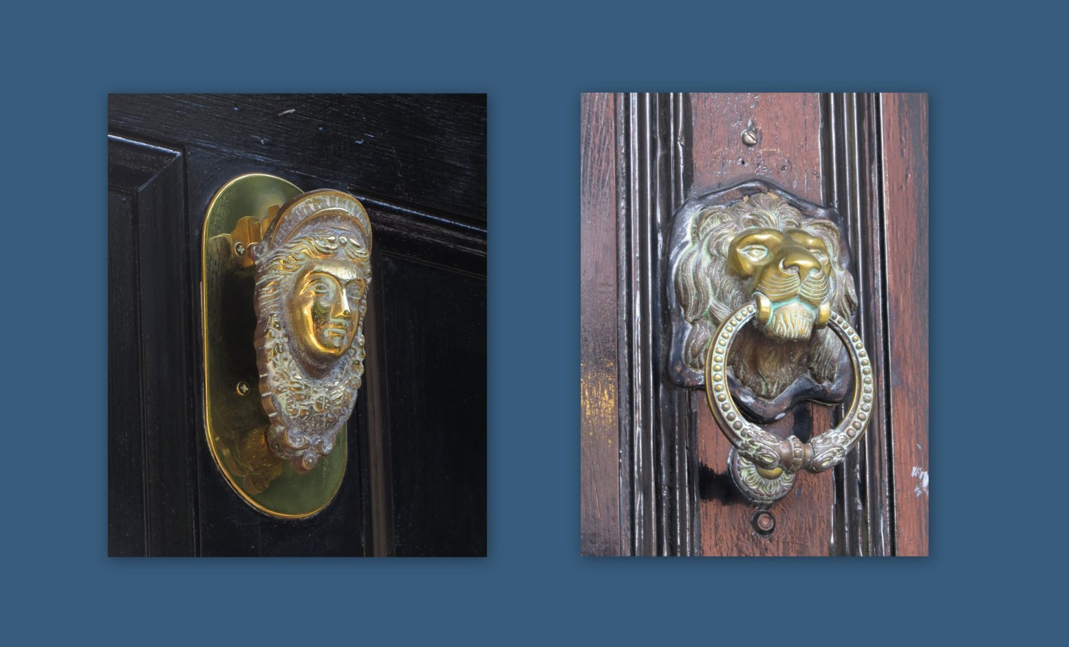 lion and lady doorknockers