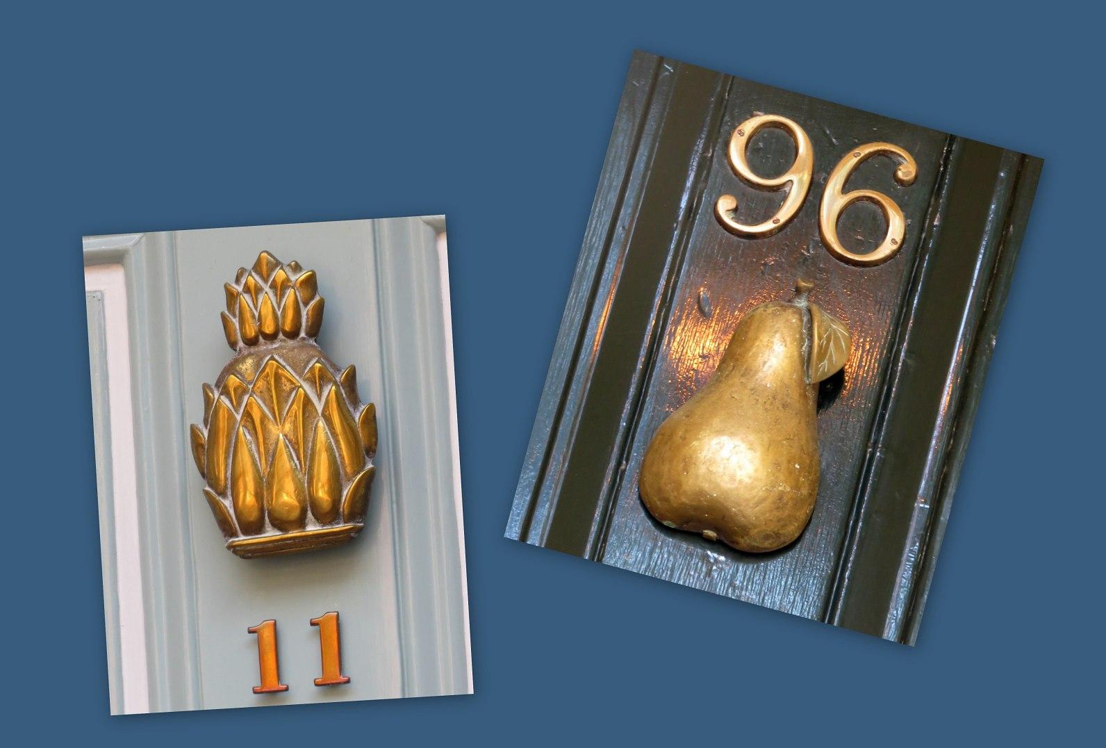 pineapple and pear doorknockers