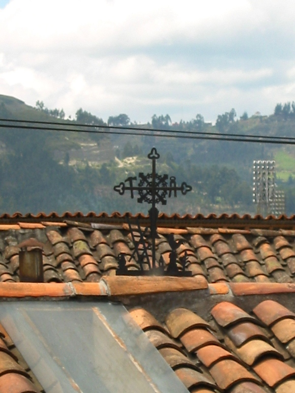 cross on roof in cuenca, ecuador