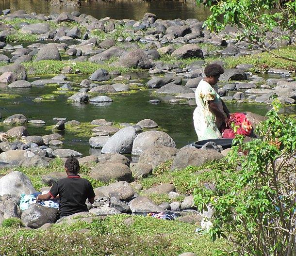 washing at the river in vanuatu